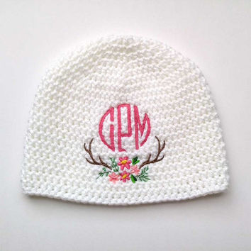Deer Antler Monogram Hat - Woodland Baby Girl - Personalized Girl Gift - Woodland Baby Clothes - Rustic Baby Shower - Antler Baby