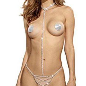 Dreamgirl Rhinestone Collar with Attached Rhinestone G String and Matching Pasties