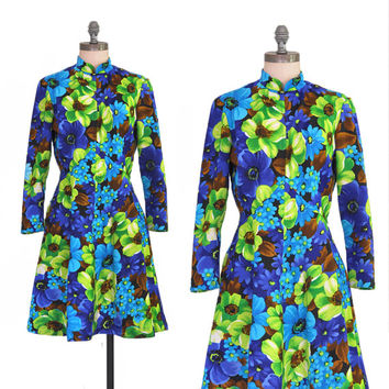 25% OFF SALE Mod Floral Print Dress • Vintage Bright Blue + Green 1960s Dress • Long Sleeve Sixties Mini • 60s Floral Dress • Bright Floral