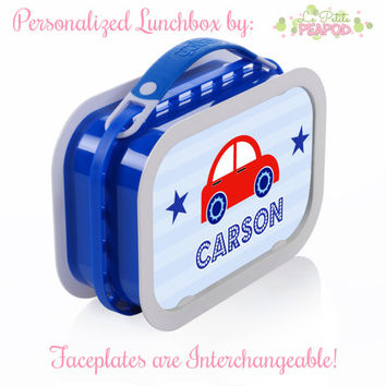 Cars Lunchbox - Personalized Lunchbox with Interchangeable Faceplates - Double-Sided Red White and Blue Cars and Stars Lunchbox