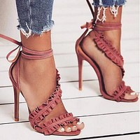 Fashionable folded high-heeled sandals for women