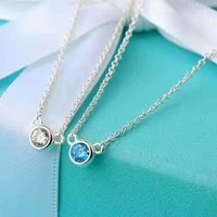 Tiffany & Co. Mini Blue Diamond Necklace clavicle Chain