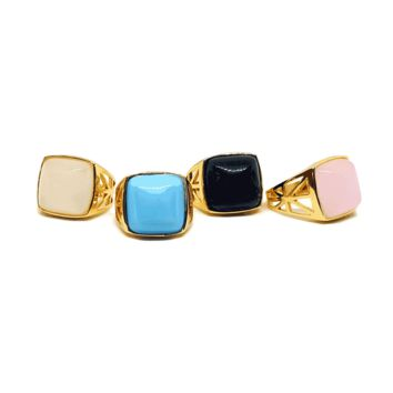 (1-3177-h6) Gold Overlay Squared Colored Stone Ring for Ladies.
