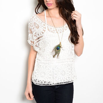 Crochet Overlay Blouse in White