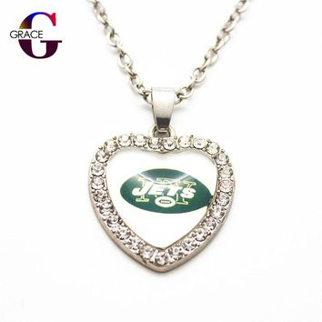 1pcs Fashion New York Jets Football Sports Charms Heart Crystal Necklace Pendant With 50cm Chains For Women Men Diy Jewelry