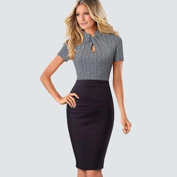 Retro Women Work Office Business Sheath Slim Bodycon Dress Formal Stand Collar With Key Hole Pencil Summer Dress HB430