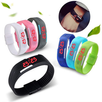 NEW! Silicone Red LED Sports Bracelet Touch Watch Digital Wrist Watch