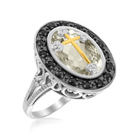 18K Yellow Gold & Sterling Silver Oval Rock Crystal Ring with Cross and Diamonds: Size 7