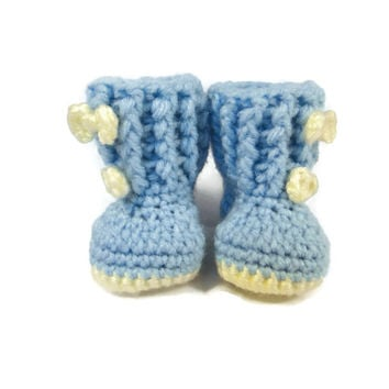 Blue Baby Booties Boots Bows Crochet Shoes