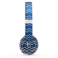 The Blue Gradient Layered Chevron Skin Set for the Beats by Dre Solo 2 Wireless Headphones