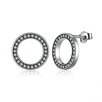 Clear CZ 925 Sterling Silver Circle Push-back Femme Stud-Earrings Fine Jewelry Boucle d'oreille bijoux