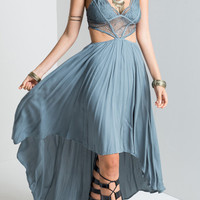 Bohemian Style Sexy Cutout Backless Irregular Long Dress