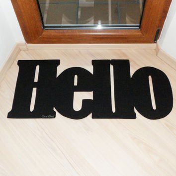 Hello door mat. Welcome mat. Home decor. Customizable