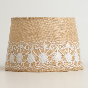 Floral Embroidered Burlap Accent Lamp Shade - World Market