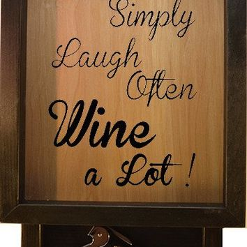 "Wooden Shadow Box Wine Cork Holder with Corkscrew 9""x15"" - Live Simply Laugh Often Wine A Lot"