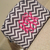 Monogram Chevron Makeup Bag