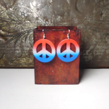 Peace Sign Hoop Earrings Red White Blue Patriotic Jewelry Painted Metal Hippie Boho Style American USA Flag Colors Round Large Pierced Ears