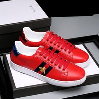 Gucci Bee Embroidered Red Low-top Sneaker