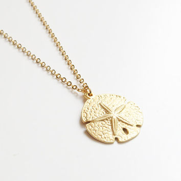 Sand Dollar Necklace | Gold Sand Dollar Necklace | Beach Necklace | Sand Dollar Coin Necklace | Nautical Necklace | Layering Necklace