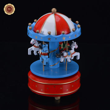 WR Wooden Box Merry-Go-Round Carousel Music Box for Kids Wedding Gift Toy Fairy Tale Princess Prince Collection