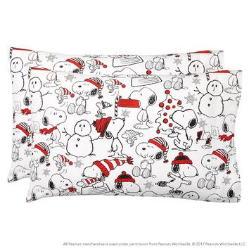 Peanuts® Holiday Flannel Sheet Set
