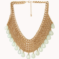 FOREVER 21 Goddess Teardrop Chain Bib Necklace