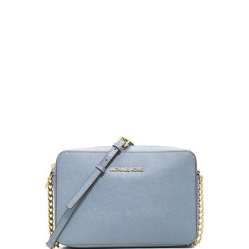 71545b58517079 Jet Set Travel Large Saffiano Crossbody Bag, Pale Blue - MICHAEL Michael  Kors