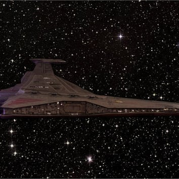 Custom built and fiber optic lit Revell Venator Republic Star Destroyer model from Star Wars