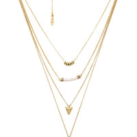 Layered Charm Necklace in Cream & Gold