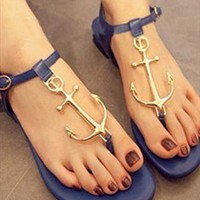 Retro anchor personalized T -Strap Thong Sandals  JCACC