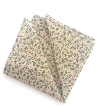 Beige Pocket Square with Small Flowers, Mens Pocket Square, Wedding Pocket Square, Handkerchief