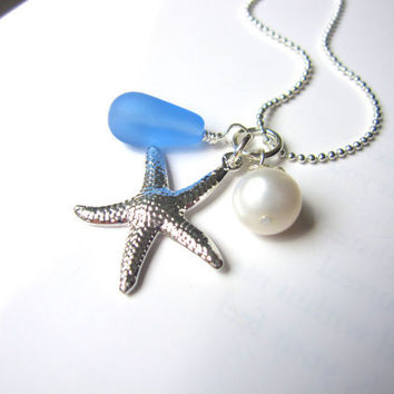 Sky Blue Sea Glass Starfish Necklace with fresh water pearl - Bridesmaids Necklace in Wedding - Perfect Beach Jewelry