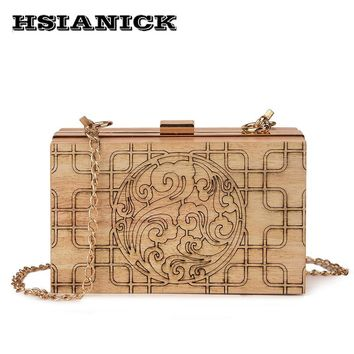 Creative ethnic bag new flower pattern design wood box bag 2018 chain small square handbag party clutch shoulder evening bag