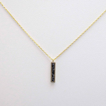 Black, Marble, Vertical, Bar, Gold, Necklace, Lovers, Friends, Mom, Sister, Christmas, New year ,Gift