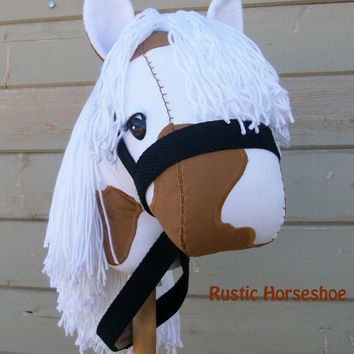 """MADE to ORDER """"Long Locks Palomino Paint"""" Stick Horse or Pony Ready to Ride"""