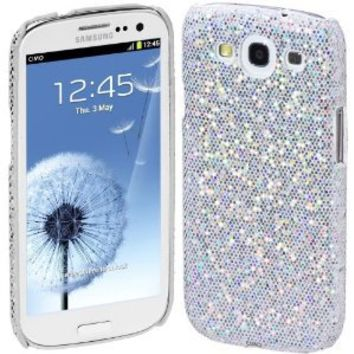 Cimo Bling Sparkle Hard Cover Back Case for Samsung Galaxy S III - White
