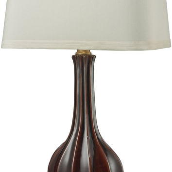 0-017427>1-Light 3-Way Table Lamp Red Glaze Antique Brass