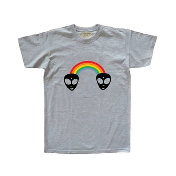 Rainbow alien short sleeved tee