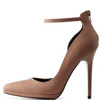 Taupe Snake-Textured Ankle Strap D'Orsay Heels by Charlotte Russe