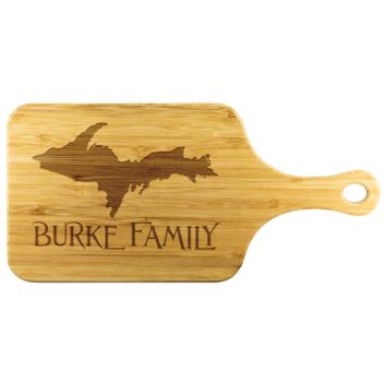 """Yooper Cutting Board with Handle for Upper Michigan Residents - 11.5"""" x 5.5"""" Bamboo Laser Engraved"""