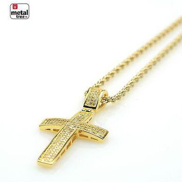 "Jewelry Kay style Men's 14k Gold Plated Icy Cross Pendant 20"" Rope Short Chain Necklace BCH 07411"