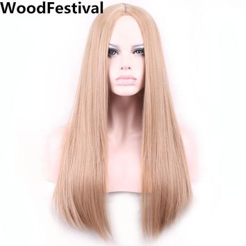 WoodFestival long straight hair blonde wig purple cosplay wigs for women heat resistant synthetic
