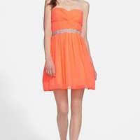 Way-In Strapless Twist Front Chiffon Dress (Juniors)