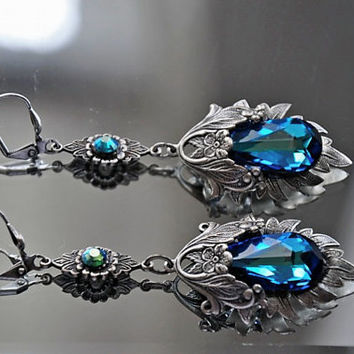 Bridal Earrings,Victorian Style Earrings,Filigree Necklace,Swarovski Crystal,BERMUDA BLUE,Vintage Style Earrings,Art Deco,Antique Silver