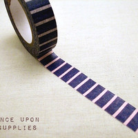 Japanese Rice Paper Washi Tape / Purple and Pink Stripes / Decorative Tape / Scrapbook Supplies