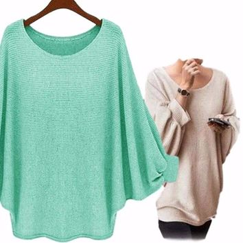 Women's Mint Blue Exaggerated Sleeve Poncho Oversized T Shirts Top