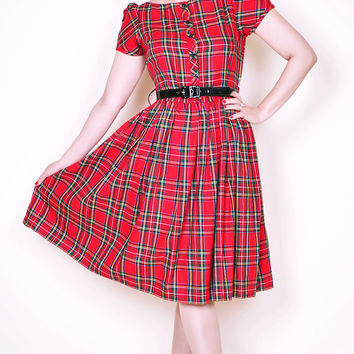Lori Pin Up Girl Dress in Red Tartan Plaid