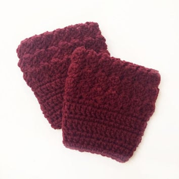 FREE SHIPPING - Crochet, Bobble, Boot, Cuff - Womens - Maroon, Dark Red