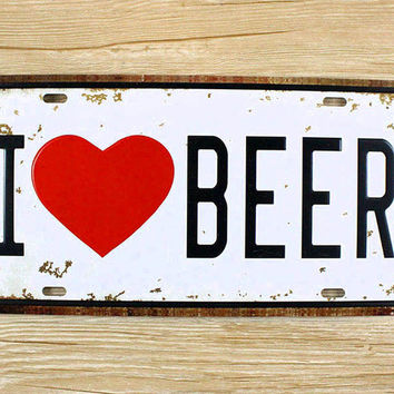 Metal Tin Signs I LOVE BEER Wall art craft Iron Retro metal painting Tin Signs 15x30cm Plaques Mural XD-1250 wall pictures