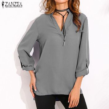 ZANZEA Women Blouses 2017 Vintage Sexy Blusas V Neck Long Sleeves Casual Loose Solid Shirts Plus Size Tops Tees